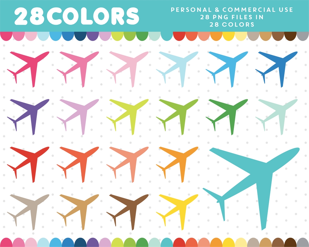 Airplane clipart in 28 colors, CL-655 JS Digital Paper
