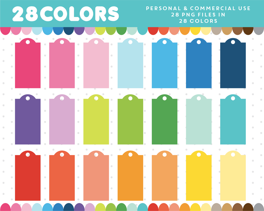 Gift tag graphics in 28 colors, CL-664 JS Digital Paper
