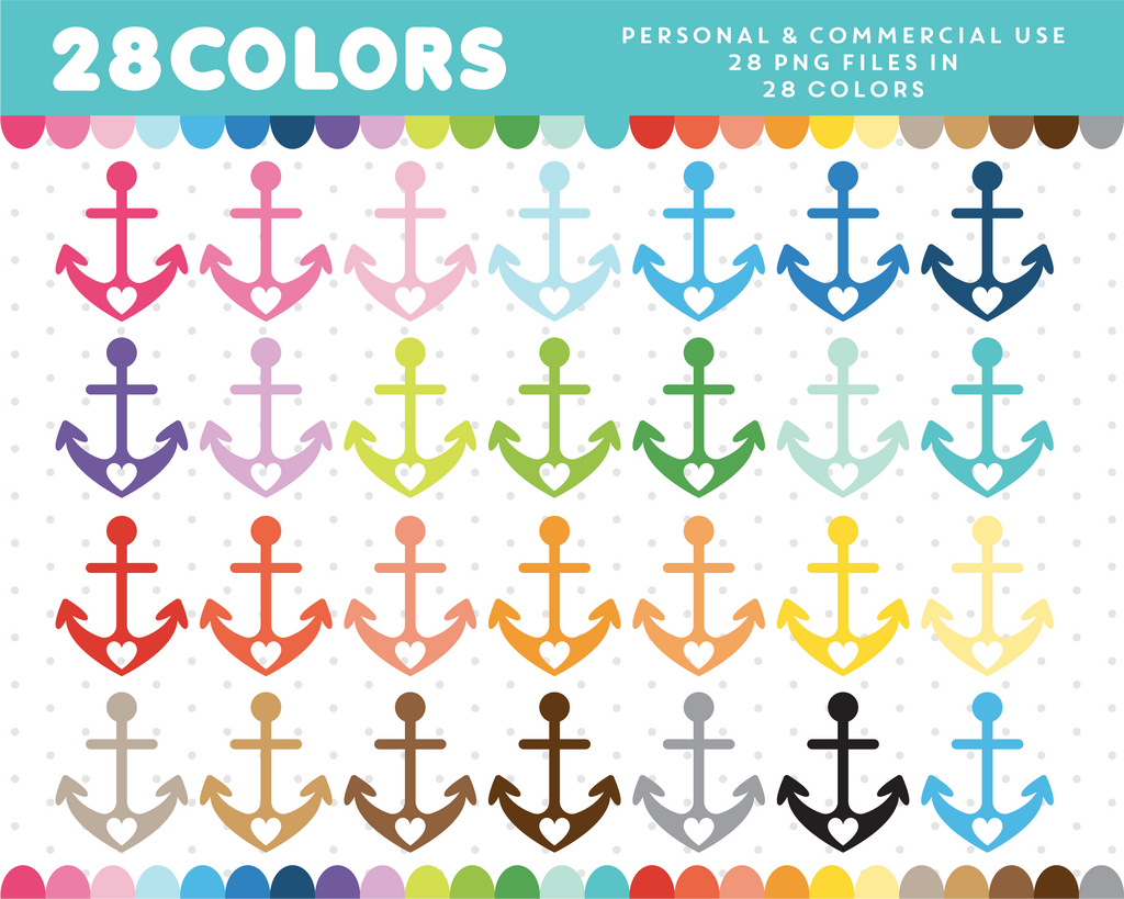 Anchor with hearts clipart in 28 colors, CL-665 JS Digital Paper