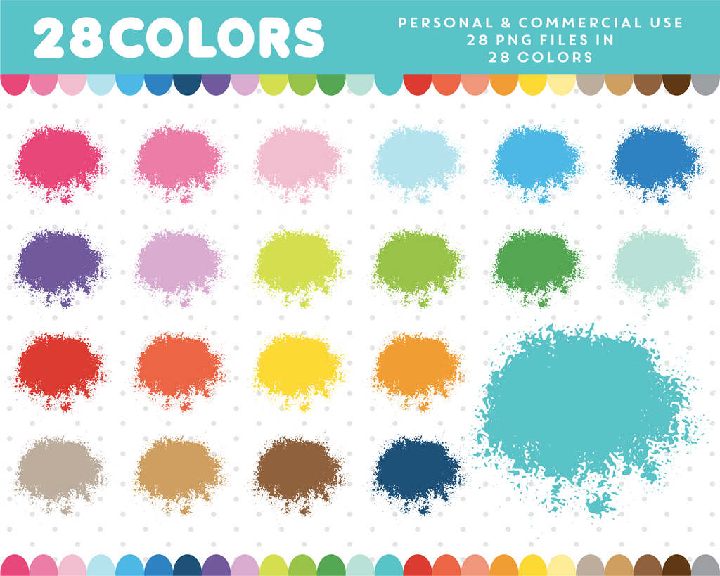 Splatter clipart in 28 colors, CL-676