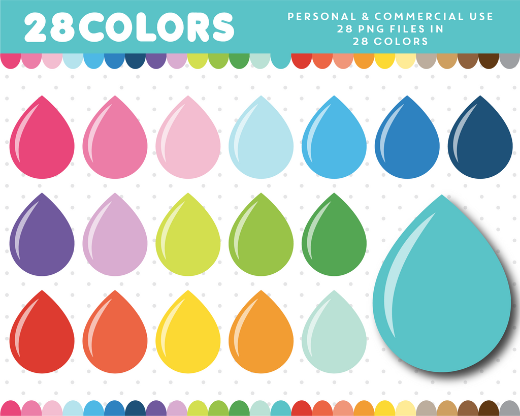 Blood drop clipart in 28 colors, CL-680