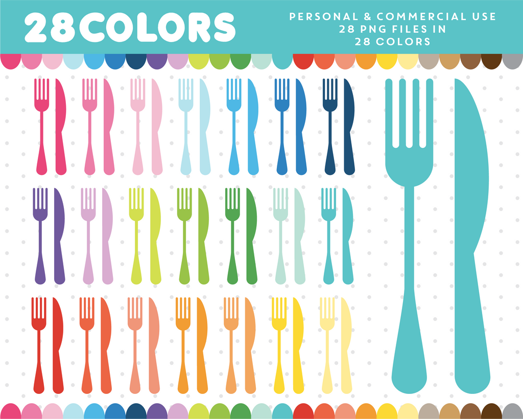 Kitchen utencils clipart in 28 colors, CL-682