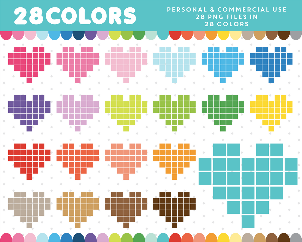 Pixel heart clipart in 28 colors, CL-689