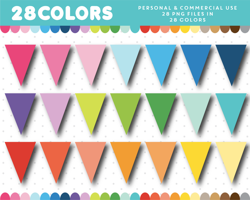 Pennant flag clipart in 28 colors, CL-695