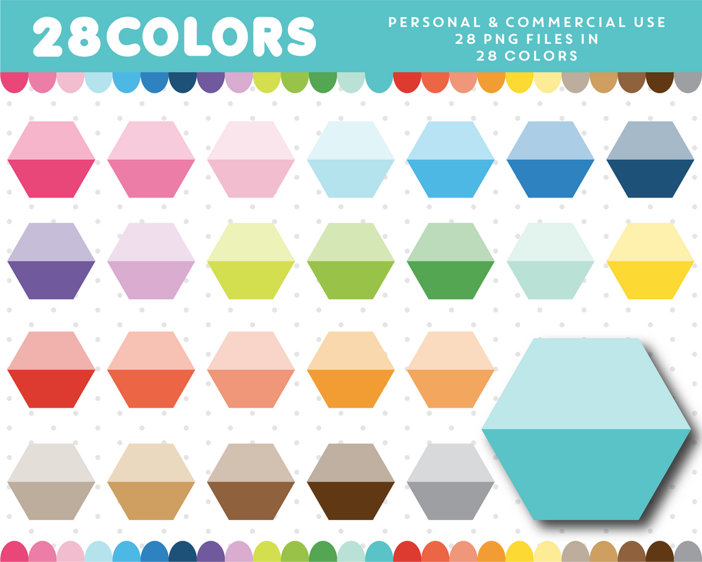 Ombre hexagon clipart in 28 colors, CL-711