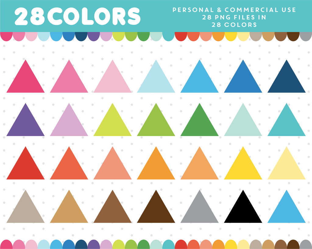 Triangle clipart in 28 colors, CL-719