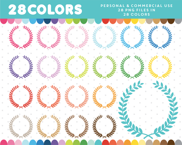 Wedding wreath clipart in 28 colors, CL-768