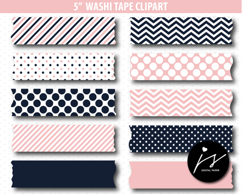 Baby pink and navy blue washi tape clipart, CL-780