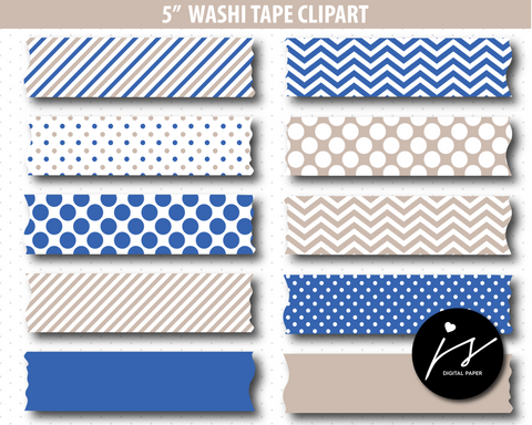 Beige and blue washi tape clipart, CL-788