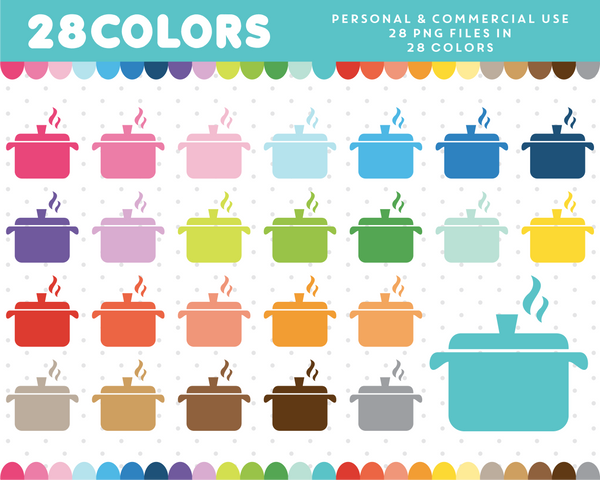 Dinner pots clipart in 28 colors, CL-819