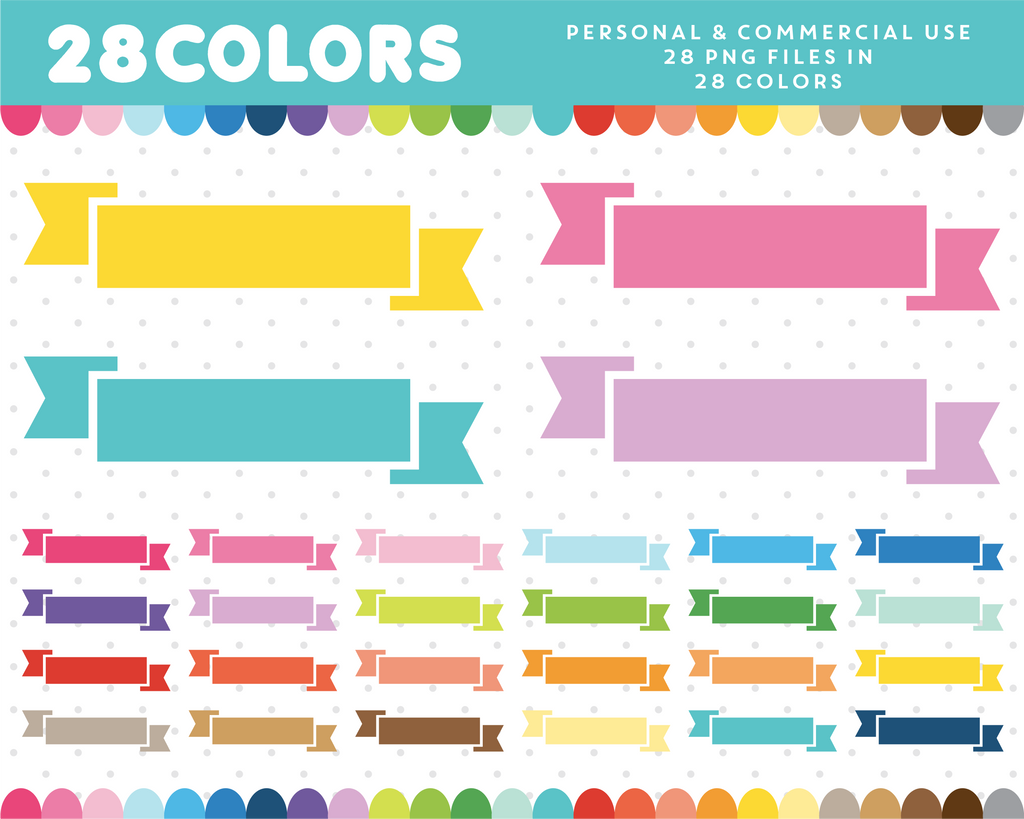 Scrapbooking ribbon flags clipart in 28 colors, CL-862