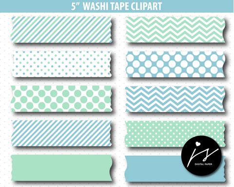 Blue and mint washi tape clipart, CL-898
