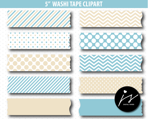 Beige and baby blue washi tape clipart, CL-899