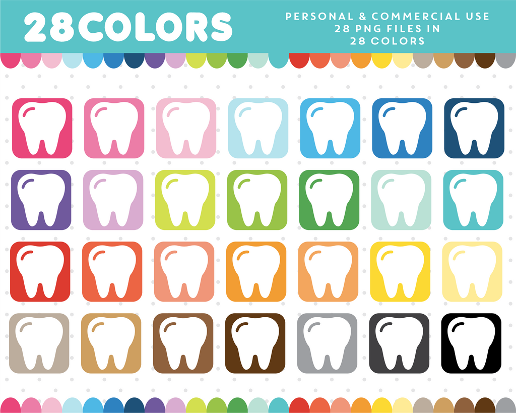 Teeth icon clipart in 28 colors, CL-912
