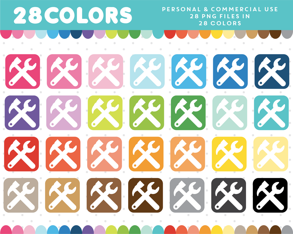 Tools icon clipart in 28 colors, CL-915