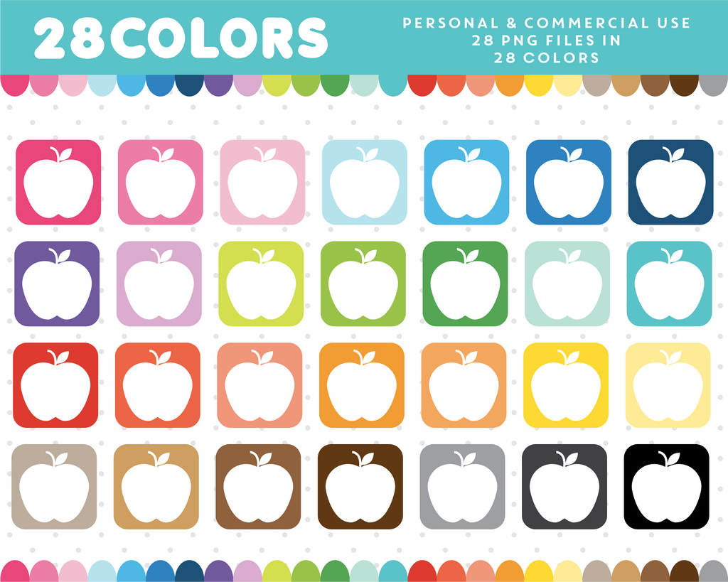 Fruit icon clipart in 28 colors, CL-917