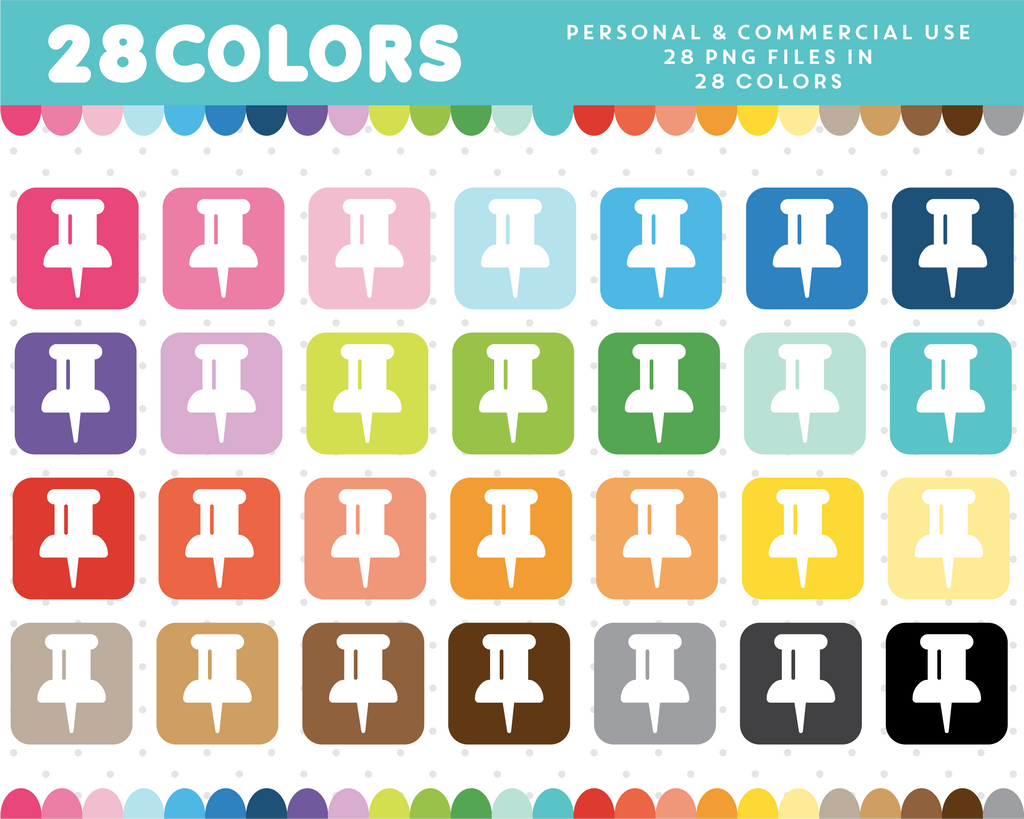 Pushpin icon clipart in 28 colors, CL-920