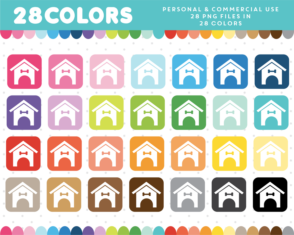 Dog house icon clipart in 28 colors, CL-926