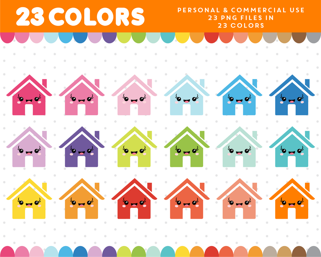 House kawaii clipart in 23 colors, CL-931