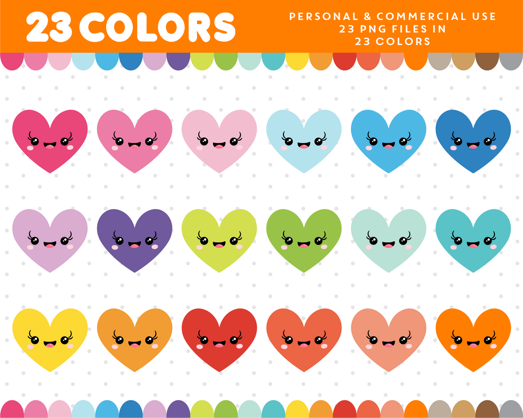 Kawaii heart clipart in 23 colors, CL-942