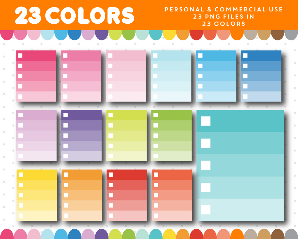Ombre checkbox clipart, Checkbox planner clipart for sticker designers, CL-950