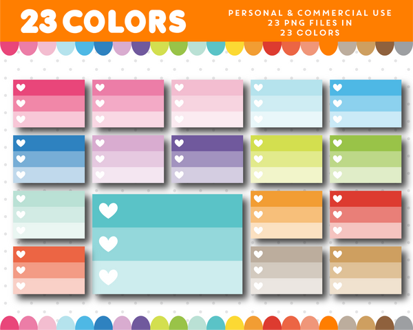 Half checkbox clipart with white hearts in ombre colors, Half heart checkbox planner clipart, CL-954