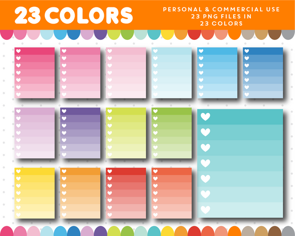 Checkbox clipart with 7 rows in ombre colors with hearts, Half checkbox planner clipart for sticker designers, CL-958