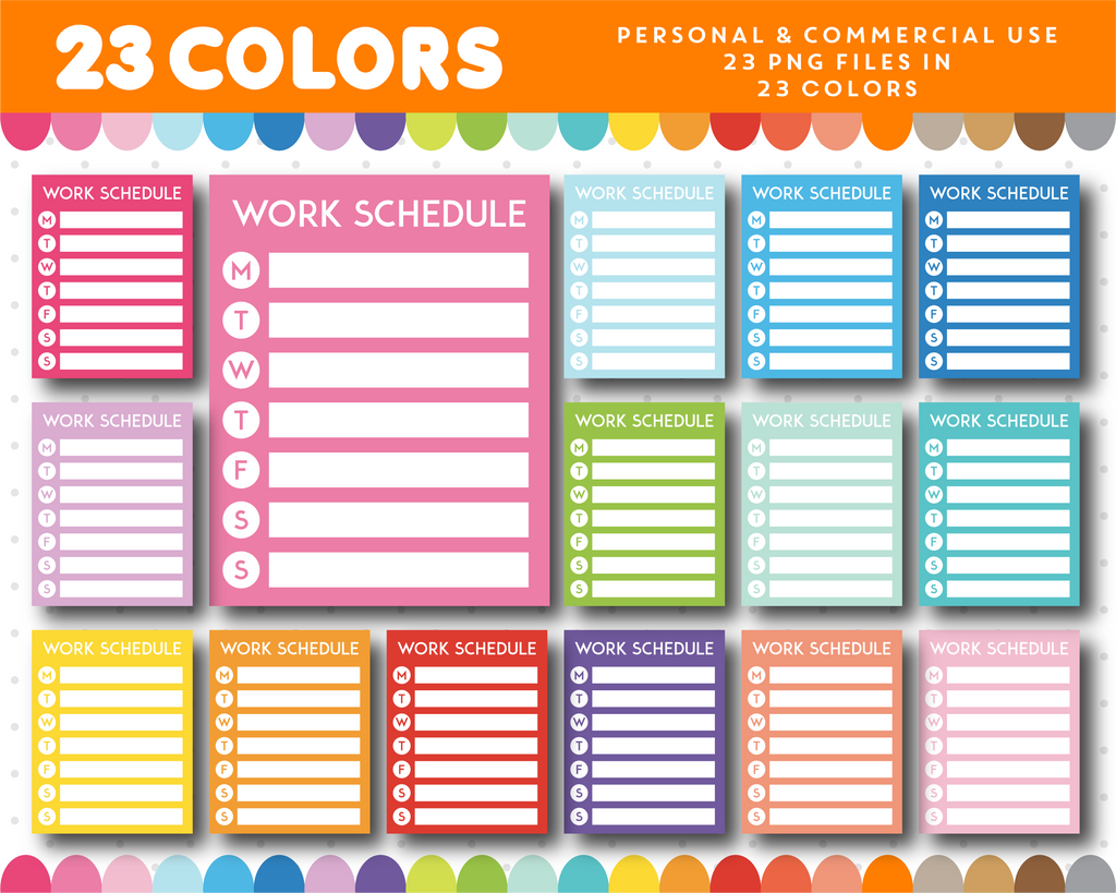 Work schedule full box planner clipart, CL-985