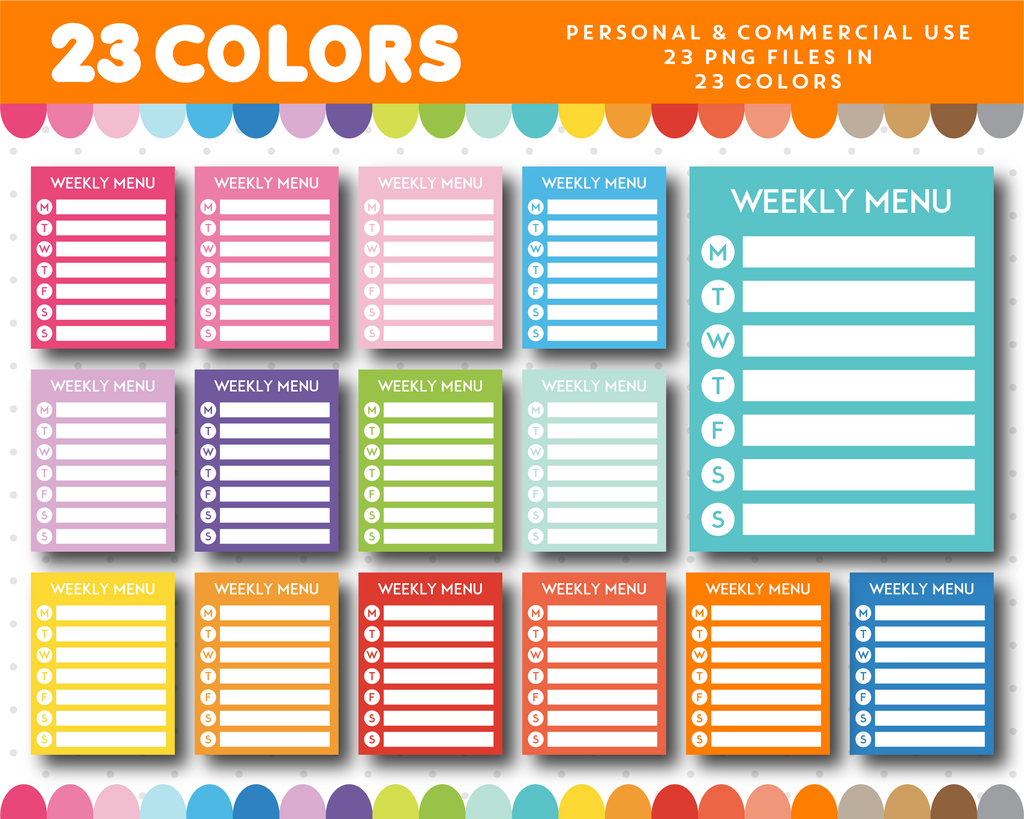 Weekly menu full box planner clipart, CL-989