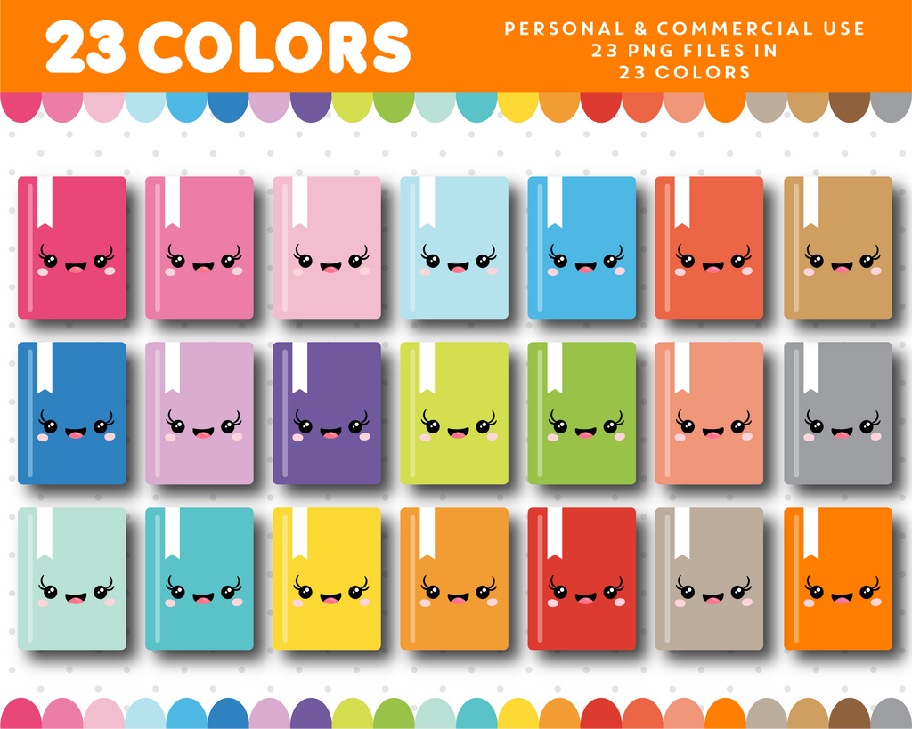 Notebook kawaii clipart in 23 colors, CL-998