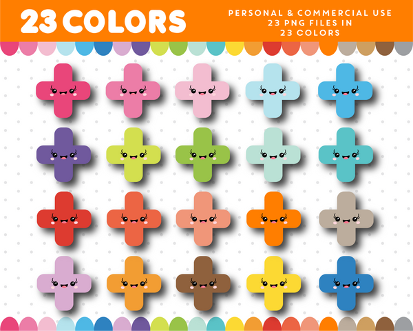 Cross kawaii clipart in 23 colors, CL-999