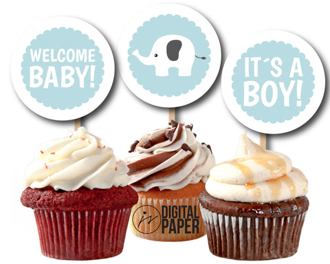 Baby blue elephant baby shower cupcake toppers, Printable toppers for baby girl and boy, CUP-107