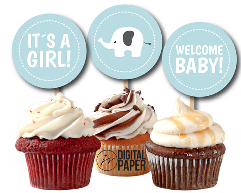 Baby blue elephant baby shower cupcake toppers, Printable toppers for baby girl and boy, CUP-108