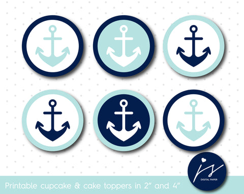 Baby blue and navy blue nautical birthday cupcake toppers and cake toppers, CUP-118