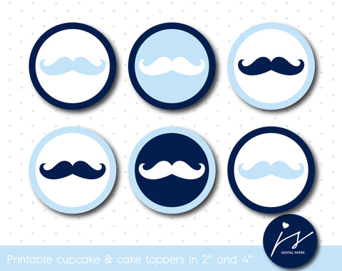 Baby blue and navy blue mustache birthday cupcake toppers and cake toppers, CUP-130