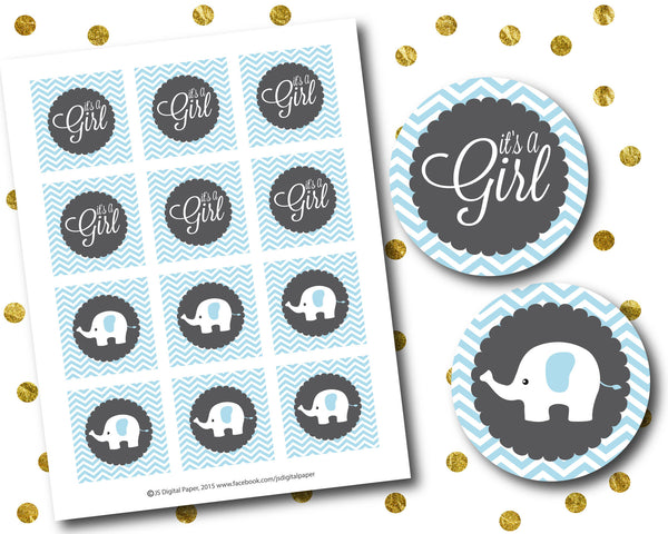 Blue elephant baby shower cupcake toppers, Printable toppers, CUP-72