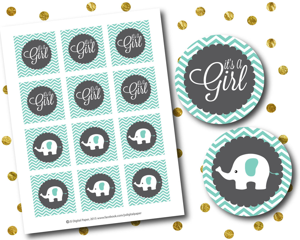Turquoise elephant baby shower cupcake toppers printable for Baby shower cupcake picks decoration