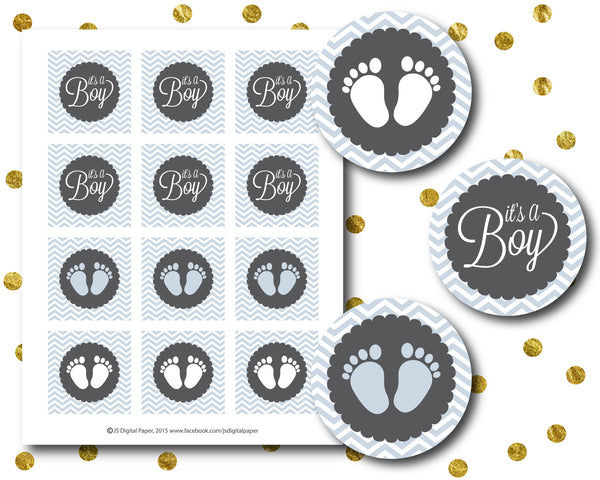 Light blue baby shower cupcake toppers with baby feet and text, Printable toppers for baby girl and boy, CUP-88
