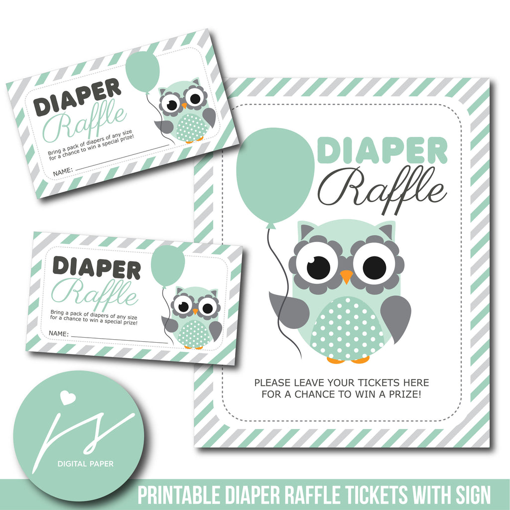 Owl diaper raffle tickets, Woodland baby shower diaper raffle cards, DR-109
