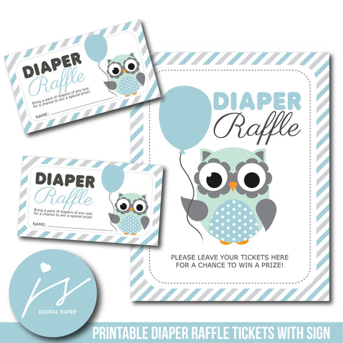 Baby blue baby shower owl diaper raffle ticket inserts, Woodland baby shower diaper raffle cards, DR-110