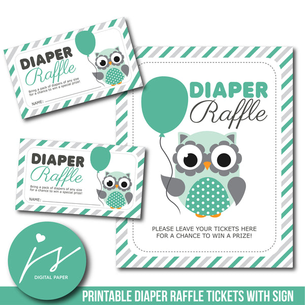 Woodland baby shower owl diaper raffle cards, DR-114