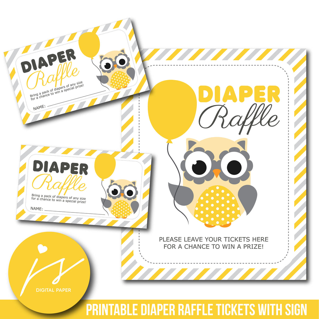 Woodland owl baby shower diaper raffle cards in yellow and grey, DR-116