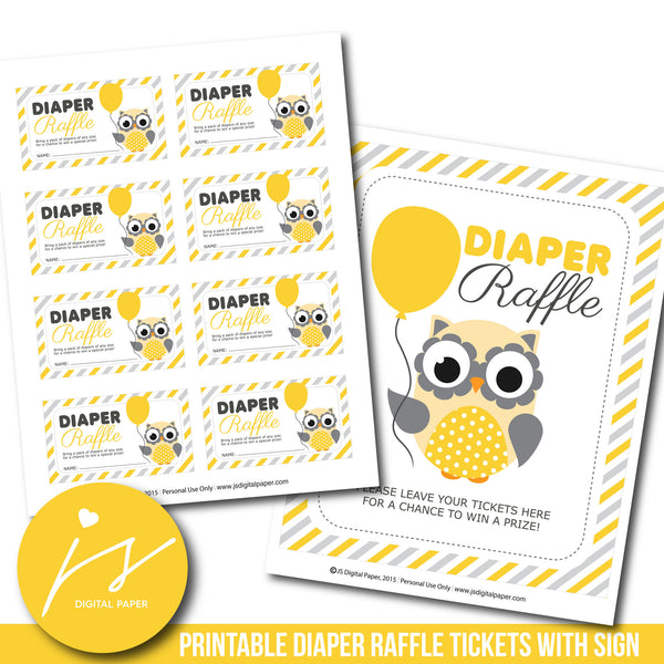 Woodland owl baby shower diaper raffle cards, DR-116