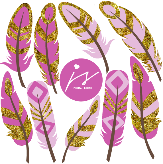 Light Dark Purple Gold Glitter Feather Clip Art, GO-10