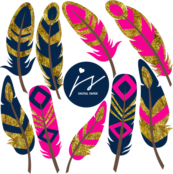 Hot Pink Navy Blue Gold Glitter Feather Clip Art, GO-09