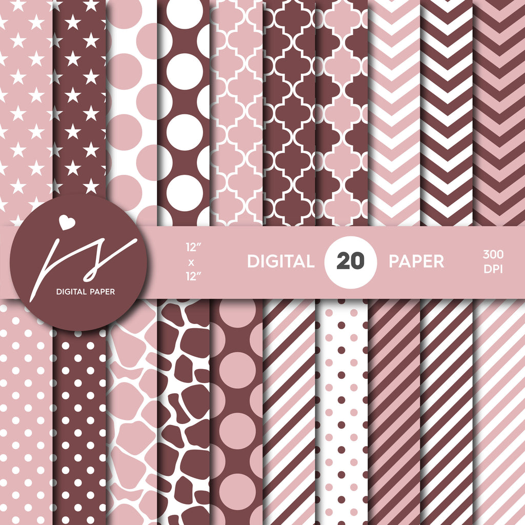 Pink and Brown Digital Paper Pack, Printable Paper, Seamless Paper Pattern, Digital Paper Bundle, Commercial Use Digital Paper, MI-210A