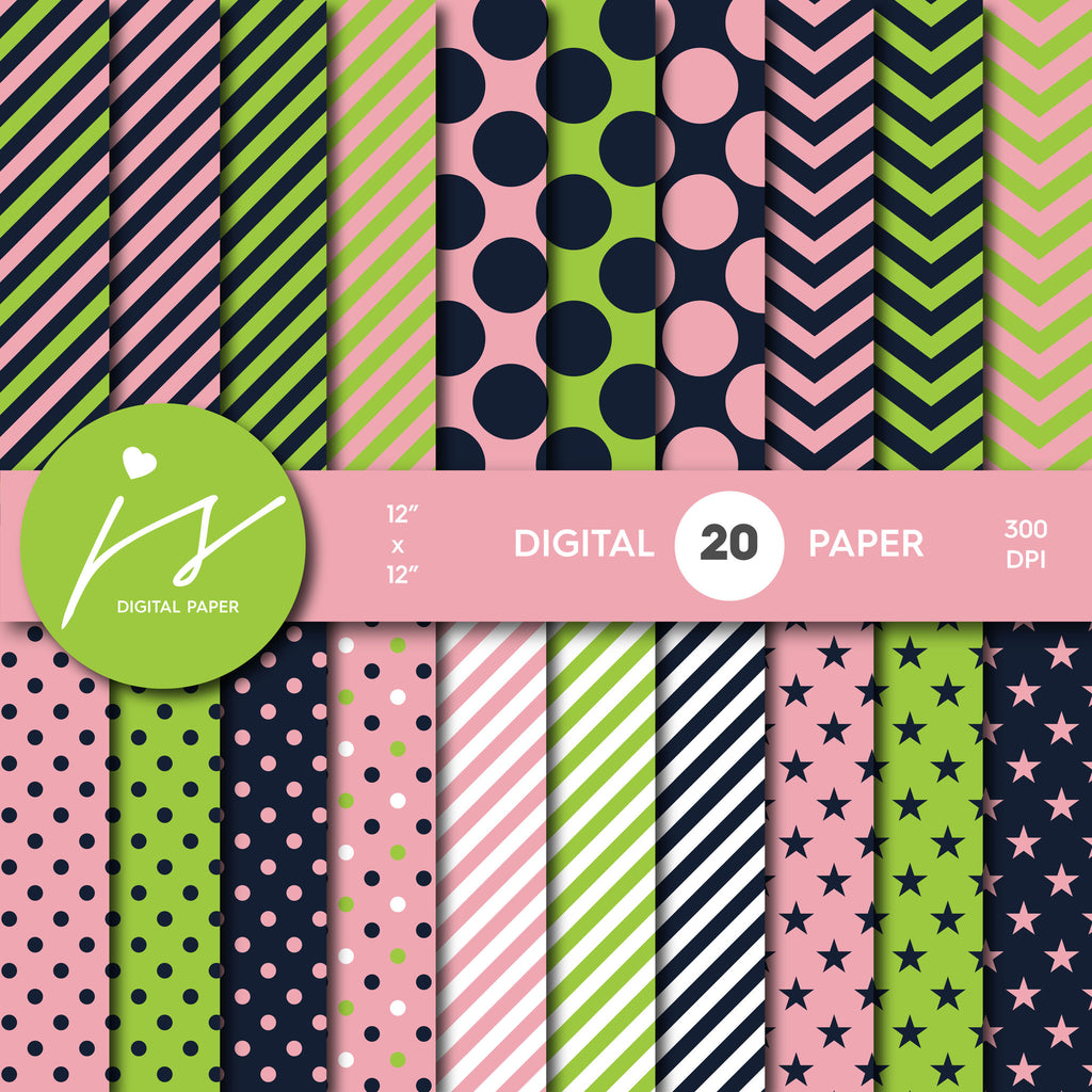 Green and Pink Digital Scrapbook Paper, Seamless Pattern with Big and Small Polka Dots Stripes and Chevron, Digital Paper Bundle Kit MI-247A