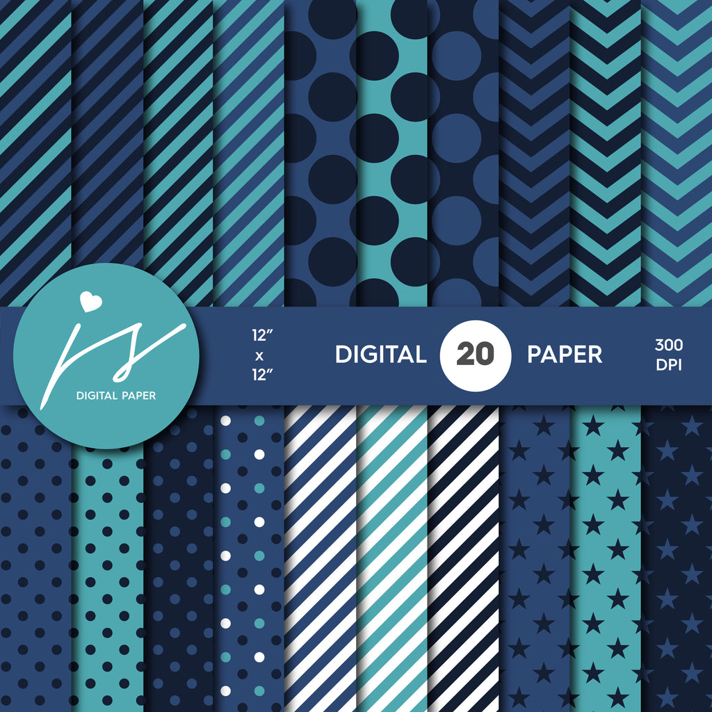 Blue Digital Paper, Turquoise Digital Paper, Printable Scrapbook Paper, Seamless Paper Pattern Bundle Sale, Paper Pack Kit, MI-250A
