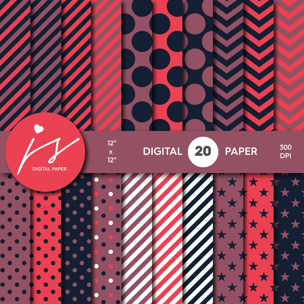 Burgundy Digital Paper, Pink Digital Paper, Printable Scrapbook Paper, Seamless Paper Pattern Bundle Sale, Paper Pack Kit, MI-251A