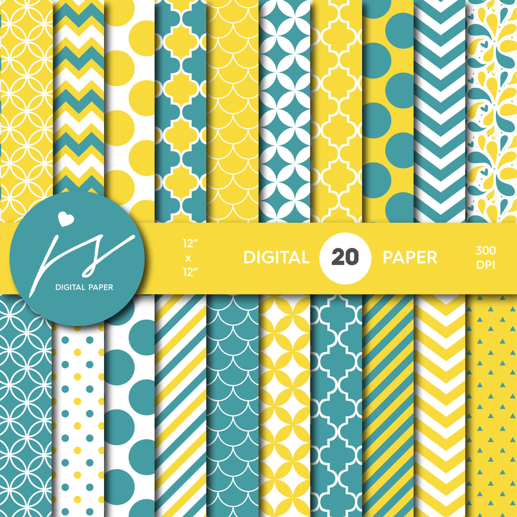 Yellow Digital Paper, Teal Digital Paper, Printable Scrapbook Paper, Seamless Paper Pattern Bundle Sale, Paper Pack Kit, MI-268A